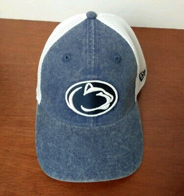 Penn State Nittany Lions New Era Fitted Hat Cap M L Mesh Back Distressed Denim