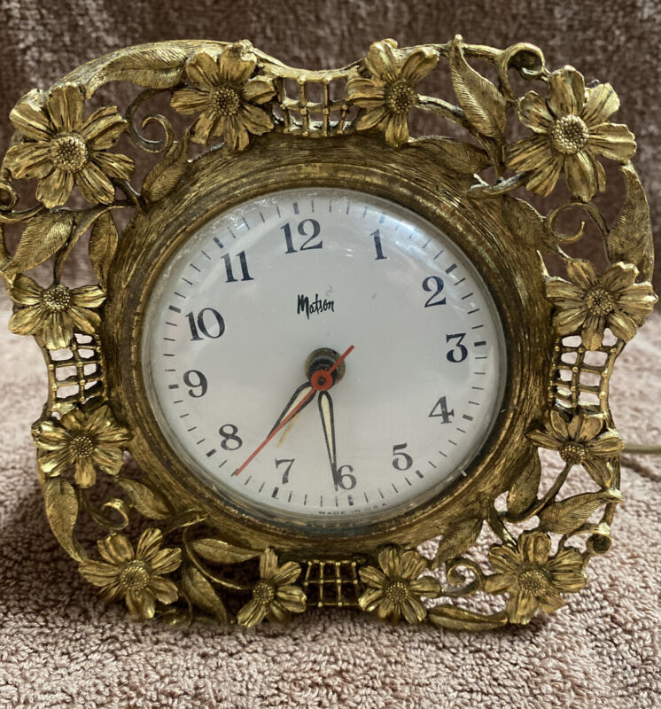 Antique Matson Stylebuilt Alarm Clock with Gold Flowers, Signed 372A