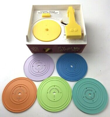 1971 Fisher Price Vintage Music Box Record Player Works And 5 Original Records