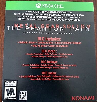 Xbox One Metal Gear Solid V Phantom Pain DLC Download Code New Unused 5 Snake