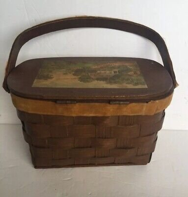 Vintage Wooden Picnic Basket Style Purse With Wood Handle Signed -