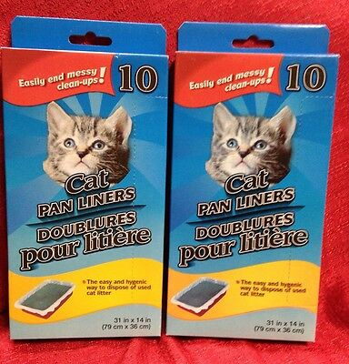 "2 Boxes Large Cat Pan Litter Box Liner Bags, 20 ct.  31"" X 14"" Inches"