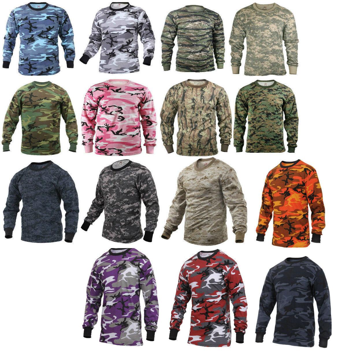 Long Sleeve T-Shirt Camo Tactical Military Crew Tee Undershi