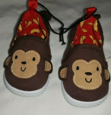 Baby Boy Size 3 Brown Monkey with Ears and Tail Slip On Shoes New