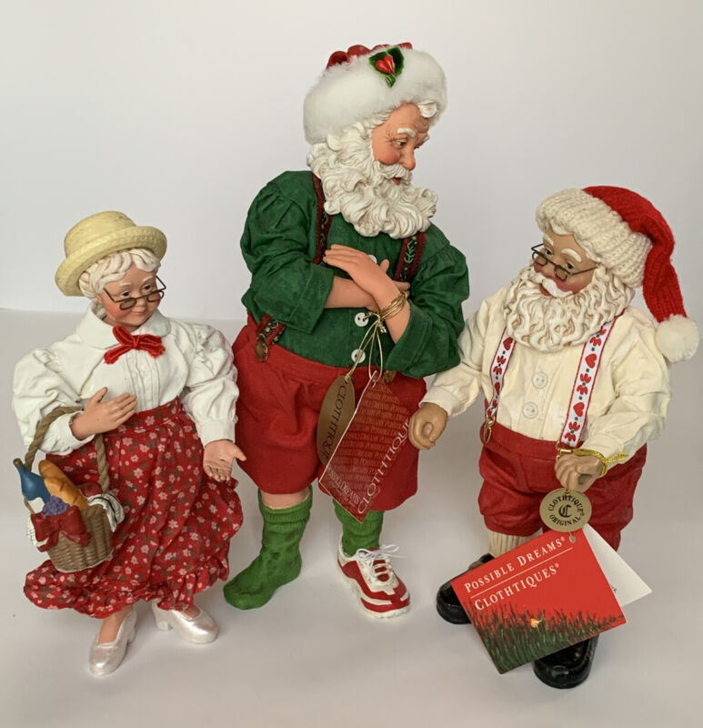 Lot of 3 CLOTHTIQUE POSSIBLE DREAMS 1999 Mr. & Mrs. Claus&Sneaking Around Santa