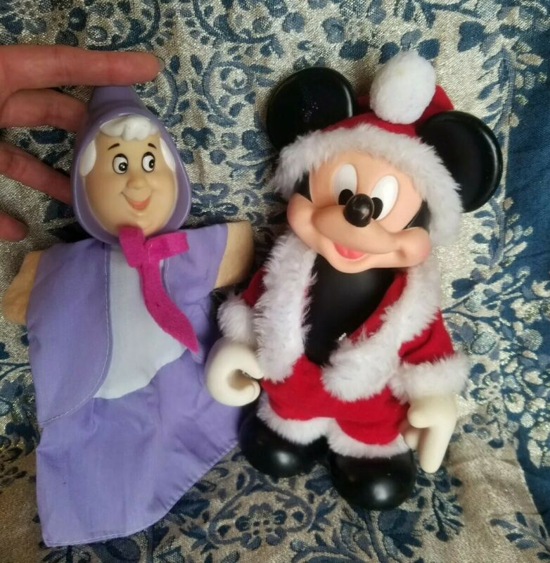 Vintage Mickey Mouse Santa  Rubber Face Doll & Cinderella Fairy Godmother Puppet