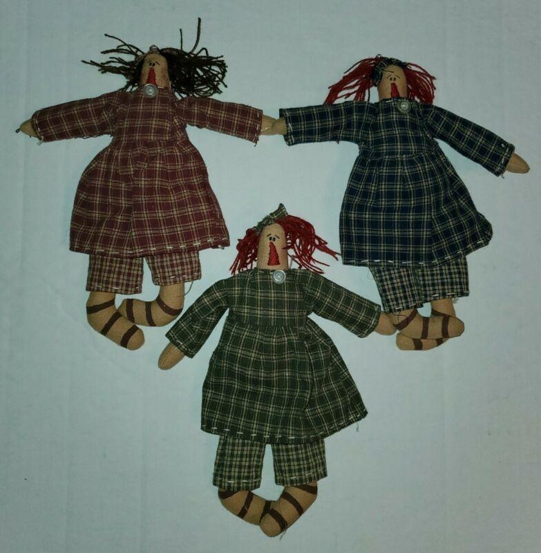 Original Mini Raggedy Ann Dolls Friends Country Primitive  2004 Honey and Me
