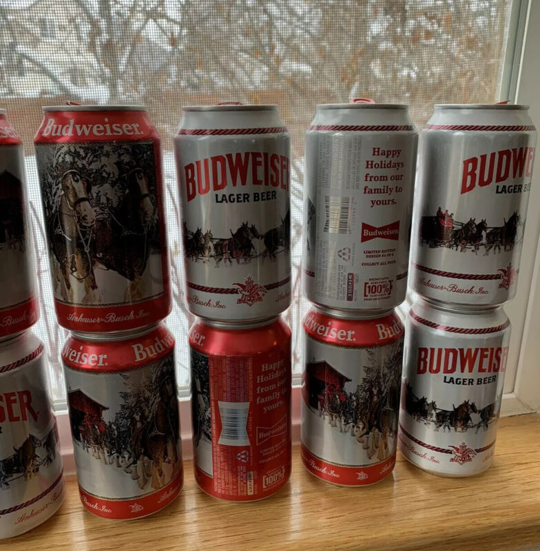 12 oz Budweiser Holidays Empty BEER CAN Limited Edition Stein Clydesdales 2019