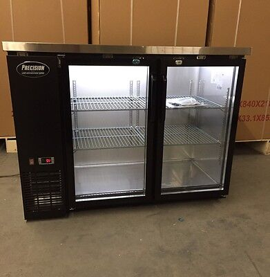 48 Back Bar Cooler 2 Door Glass 4 Refrigerator Cooler New Bottle Backbar