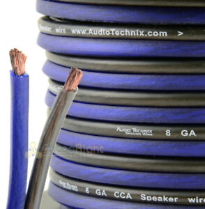 10 ft True 8 Gauge Speaker Wire Blue Black Zip Cable Car Home Audio Quality