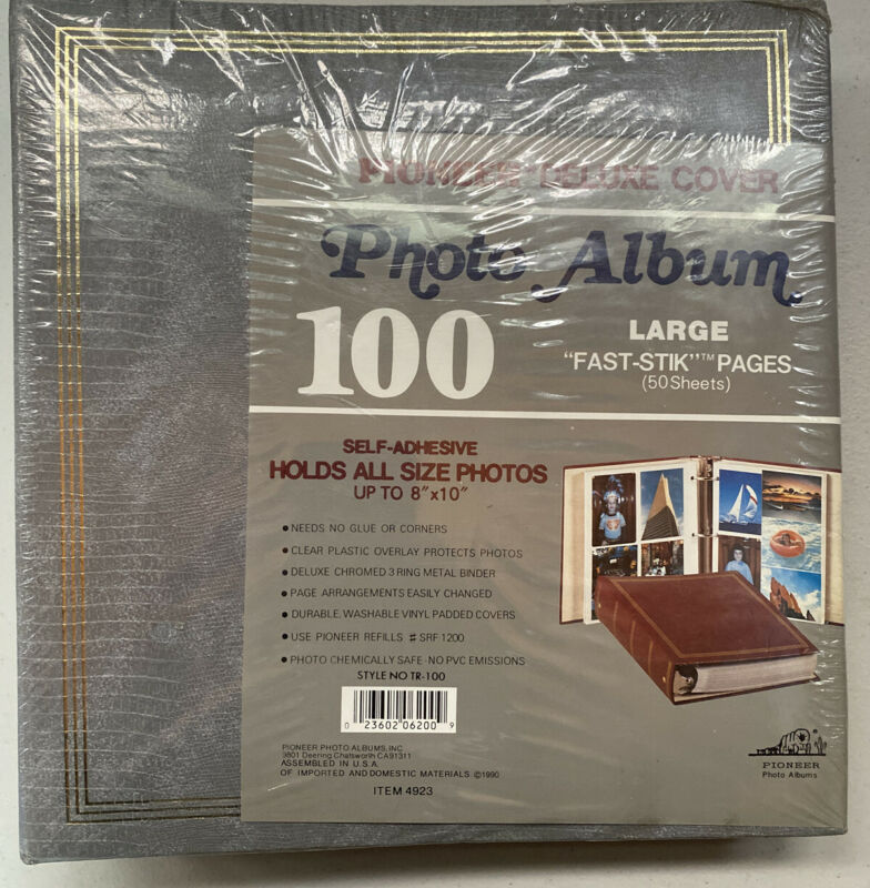 "NEW Vintage Gray Pioneer Deluxe Cover TR-100 8""x10"" Grey 100 Photo Album"