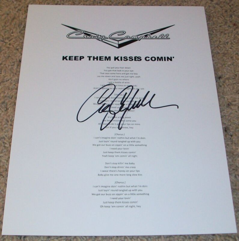 CRAIG CAMPBELL SIGNED AUTOGRAPH KEEP THEM KISSES COMIN' LYRIC SHEET w/PROOF