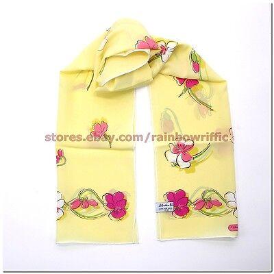 Salvatore Ferragamo Ladies Long Silk Wrap Scarf Floral Gift Box Authentic