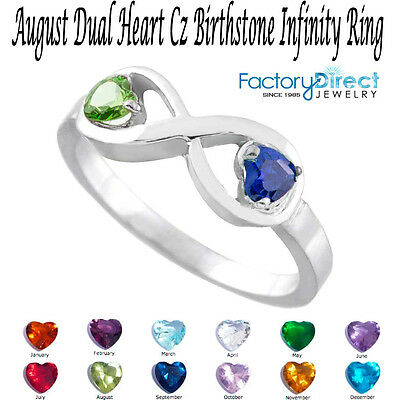 August Dual Heart Cz Birthstone Infinity Silver Ring Mix ...