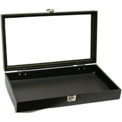 Black Jewelry Travel Showcase Display Glass Lid Case