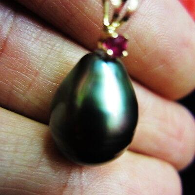 22mm Genuine .05ct RUBY Baroque Drop Tahiti,Natural Tahitian Pearl 14k Top #RMAI
