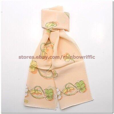 Salvatore Ferragamo Ladies Long Silk Wrap Scarf Orange Gift Box Authentic