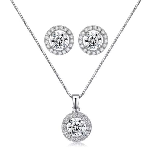 Sterling Silver Round Cubic Zirconia CZ Halo Pendant Necklace Earrings N80 Fashion Jewelry