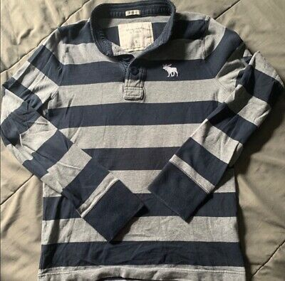 ABERCROMBIE FITCH VTG MENS LS SHIRT S SIZE MUSCLE Grey and Navy Rugby style