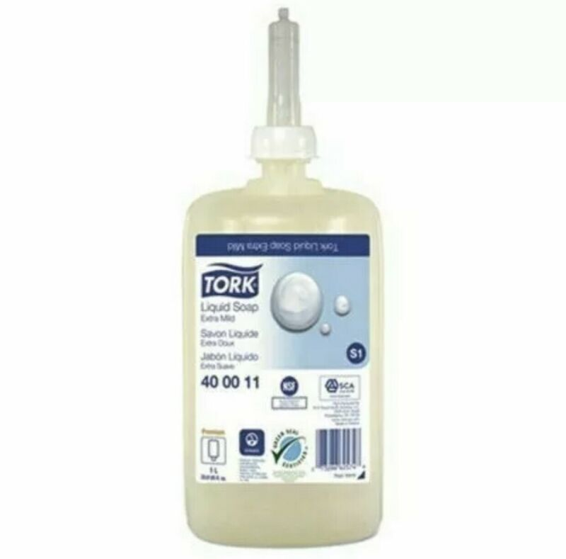 Tork Premium Extra Mild Liquid Soap-Unscented-LOT OF 6-1 Liter Bottles-TRK400011