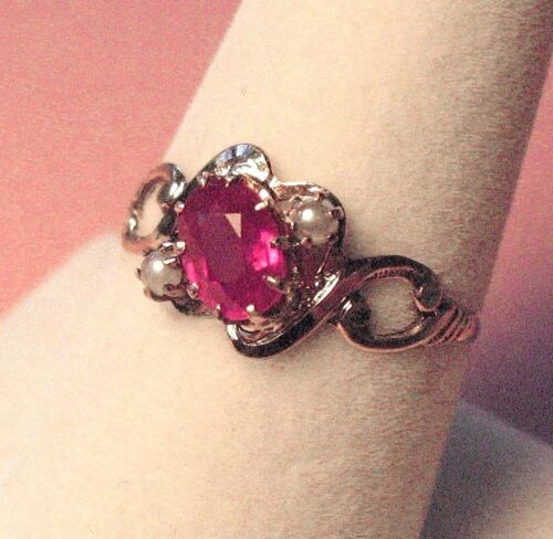 Antique Victorian 14K Rose Gold Pink Sapphire & Seed Pearl Ring - Sz. 7 3/4