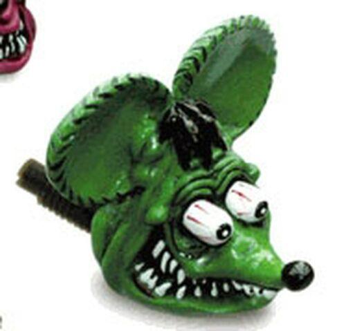 Rat Fink Head License Plate Bolts Green