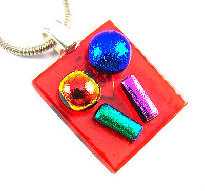 DICHROIC Glass Silver PENDANT Slide Hot Red Blue Pink Green Lollipop Tree Dots](Pink And Green Lollipops)