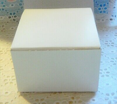 5 Gift Boxes White Foldable 3x3x2 Wedding Favor Party Jewelry Recycled Paper