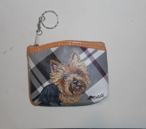 Yorkshire Terrier Yorkie dog Hand Painted Coin Purse with Key Chain