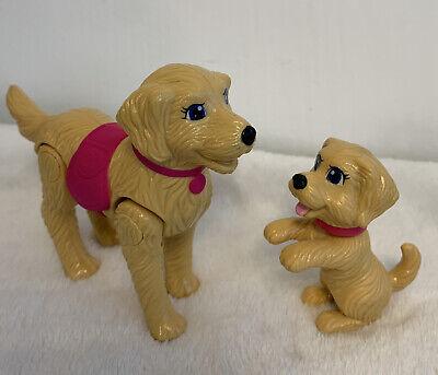 Mattel Barbie Lot 2 Golden Retrievers Mother and Pup Pink Collars