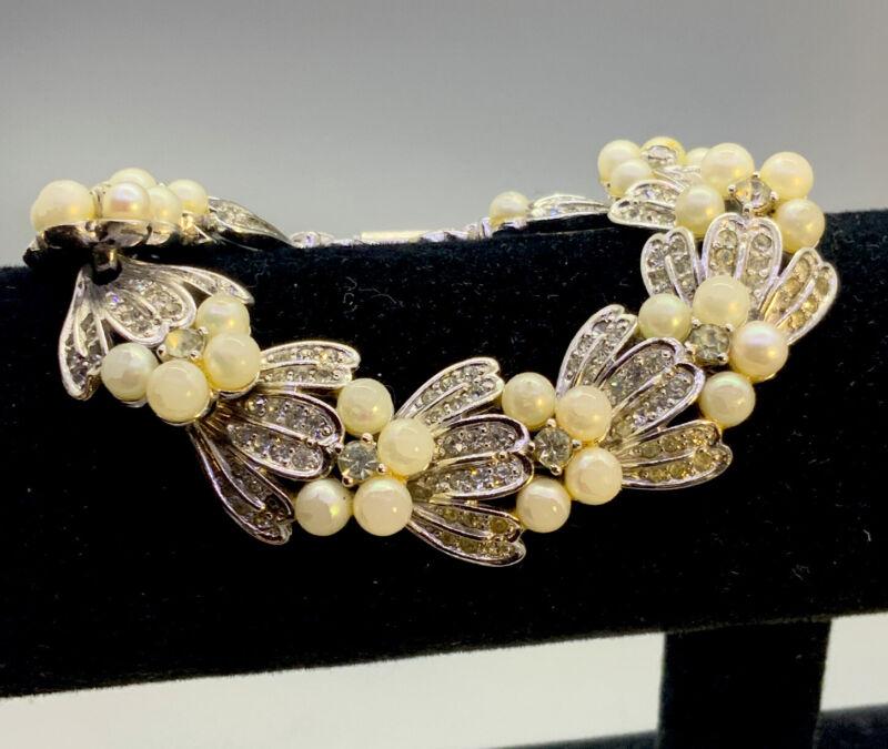 Vintage Pennino Pearl & Rhinestone Bracelet