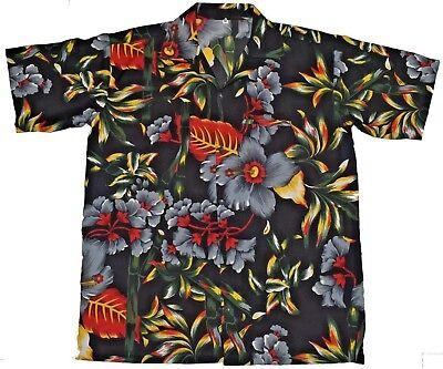 (Hawaiian shirt Mens hibiscus black print party beach casual cruise camp)