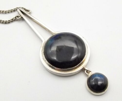 Vtg Sterling Silver Labradorite Necklace UJK Kaunis Koru Modernist Finland