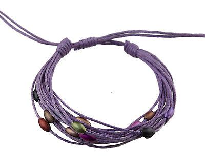 Bracelet multi fils mauve perles pastel tous poignets-Line bresilien Wrap 932 (Tous Armband Perle)