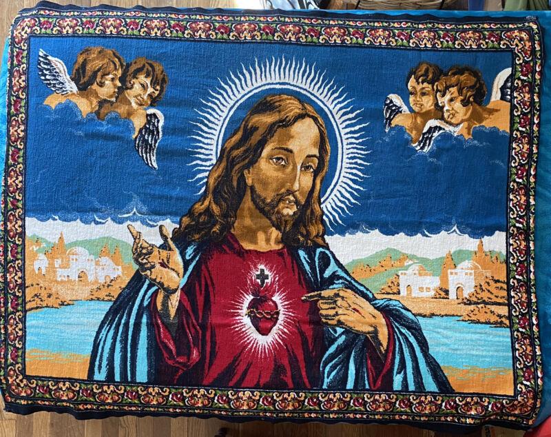Vintage Sacred Heart Jesus Christ Angels Wall Hanging 51 x 40 Flag Cotton Banner