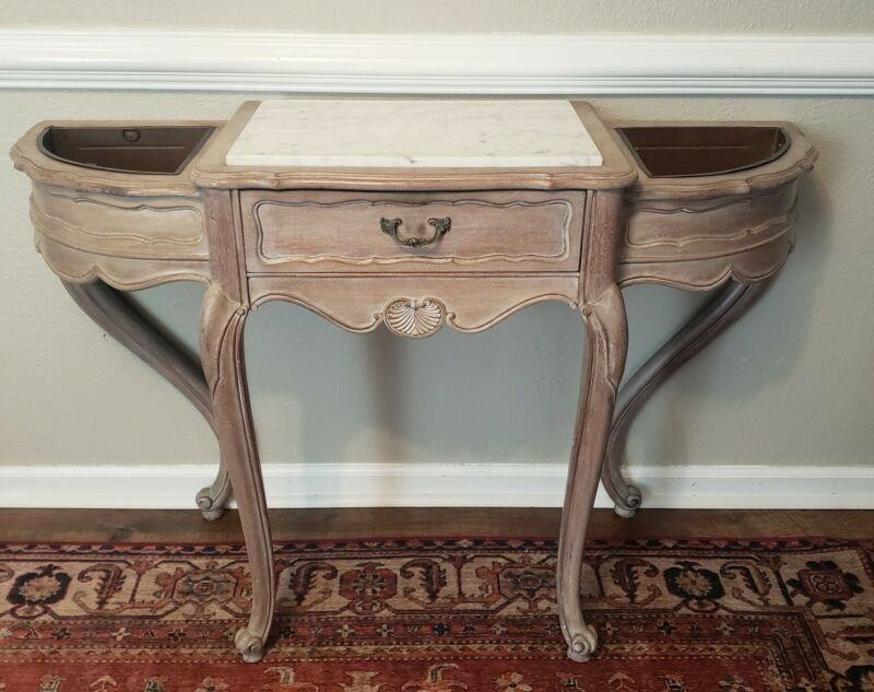 French Louis XV Style Vintage Wood Marble Top Planter Console Table Country