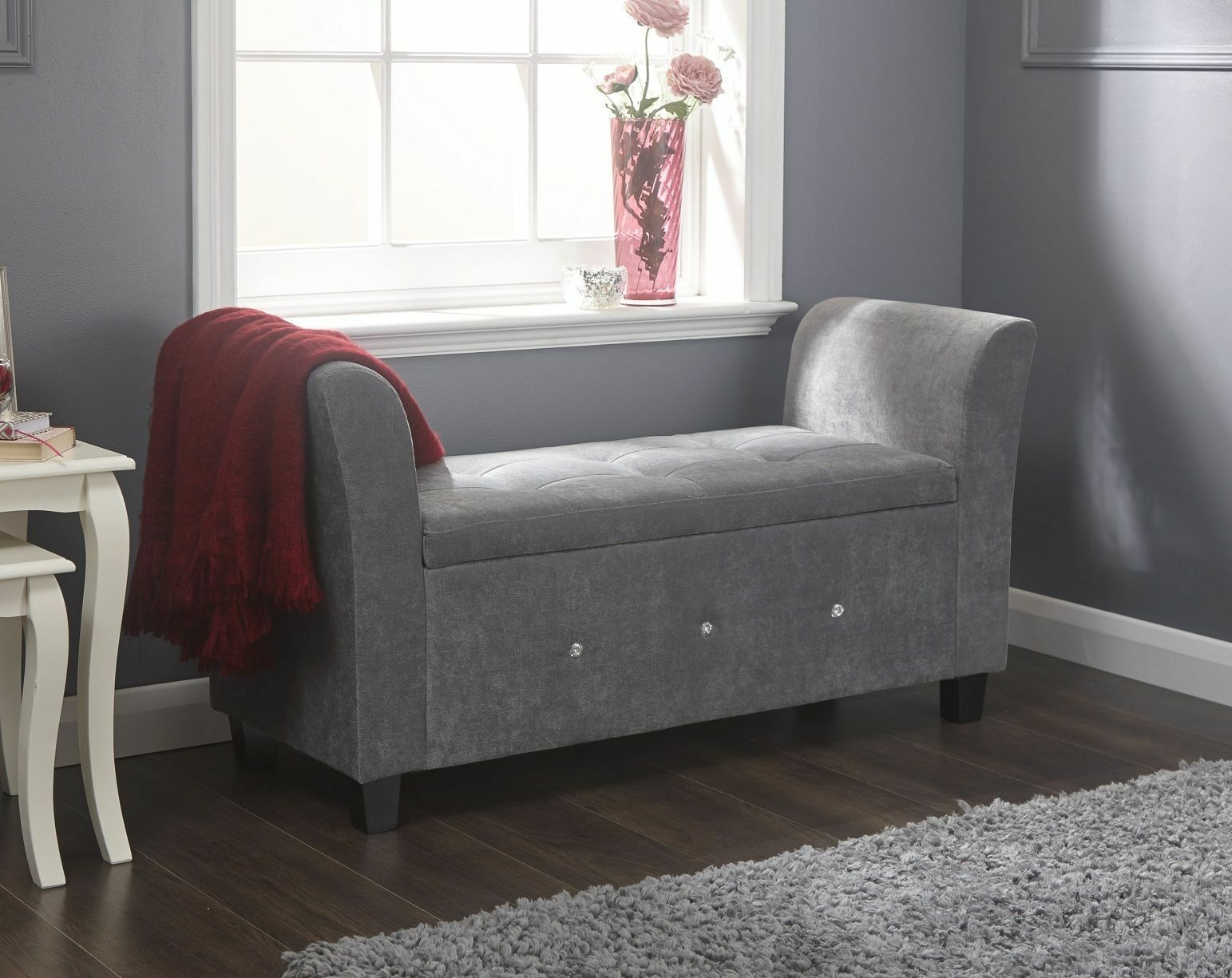 alaska grey ottoman storage diamante window seat  blanket box  ebay - £