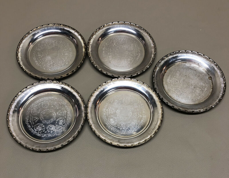(5) S Metall Silverplated Coasters, Made In Sweden