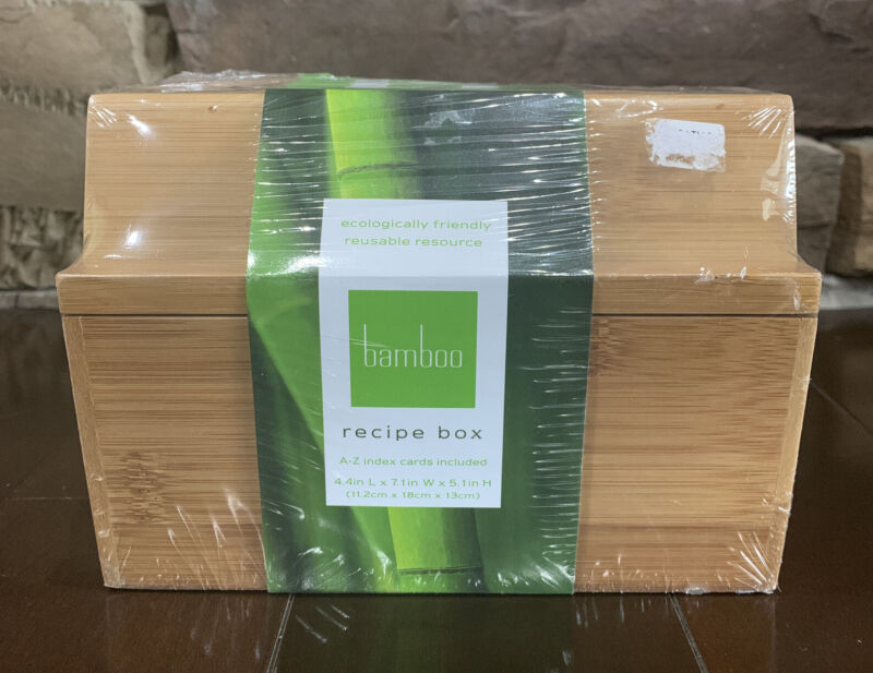 Bamboo Recipe Box A to Z Index Cards New Factory Sealed