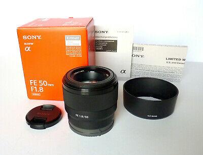 Sony FE 50mm F/1.8 Lens for Sony E-Mount. Mint in box, hood and caps