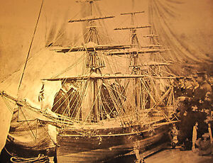 ANTIQUE-MAGIC-LANTERN-SLIDE-PHOTO-HMS-HOWE-VICTORIAN-BRITISH-TRAINING-SHIP-MODEL