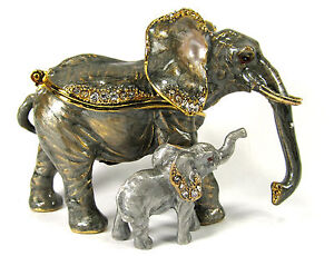 Elephant with Baby Jeweled Pewter Trinket or jewelry Box wildlife