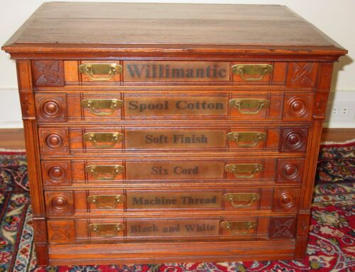 Antique Walnut Willimantic 6 drawers spool thread cabinet owl motif    15596