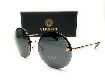 Versace VE2176 125287 Pale Gold Grey Lens Women's Round Sunglasses 59mm
