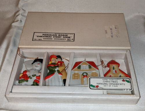 Fitz and Floyd Porcelain Bisque Christmas Street Scene Ornament Set 1980 Japan