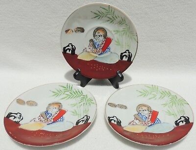 3 Vintage Japan Saucers w/ Hand Painted Japanese Man #4558