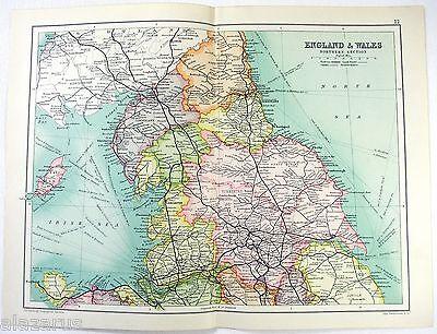 Original 1909 Map of Northern England & Wales by John Bartholomew