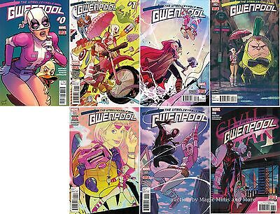The Unbelievable GWENPOOL (7) comic run #1 2 3 4 5 6 Marvel 1st print set