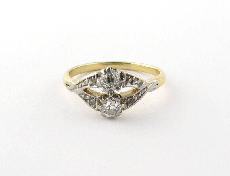 Antique 14K Yellow Gold and Diamond Ring Size 4.75 #544