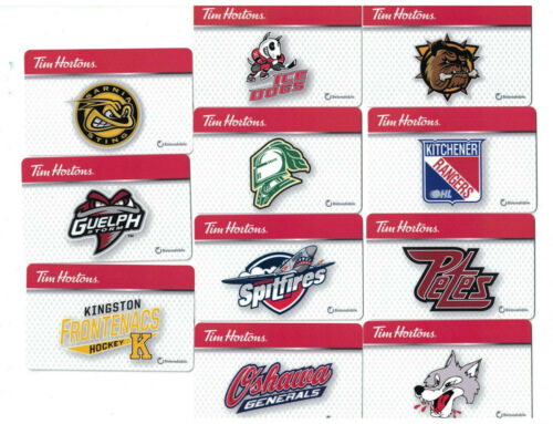 Tim Hortons 2019 OHL Hockey Complete Set ( 11 ) Gift Cards